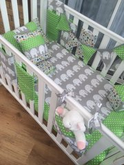 Custom Designed Bright & Funky Baby Bedding in Elephants, Spots & Stars
