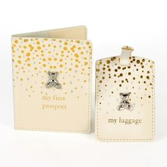 Gold & Glitter passport and luggage tag set