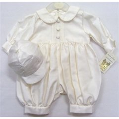 Ivory Pintucked Dupion Romper & Cap