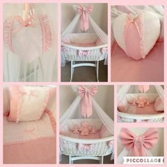 Pink Lace/Broderie Anglaise Moses Basket Set