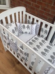 Modern and fresh white and grey elephant baby bedding set