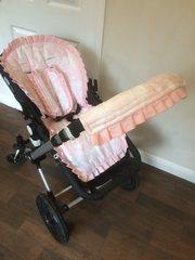 Custom Frilly Pram Liner - pink toile