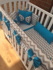 Grey chevron Cot Bedding Set with added teal elements/bows