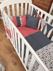 Funky red & blue blue chevron, polka dot and stars cot bed set