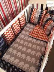 Elephant Polka Dot and Chevron Bar Bumper Cot Bedding Set