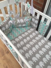 Elephant, Stars and Chevron Baby Bedding