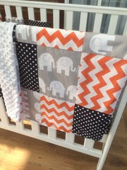 Snuggly patchwork blanket - elephants, chevrons and polka dots
