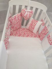 Pink Roses and White Bar Bumper Cot Bedding Set