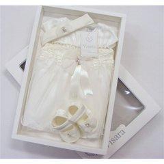 Visara ivory diamante trim boxed dress set