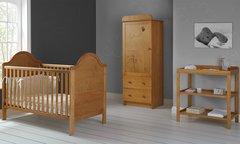 B is for Bear single 3 piece nursery furniture set - white or pine