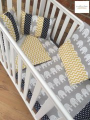 Elephant Polka Dot and Chevron Cot Bedding Set