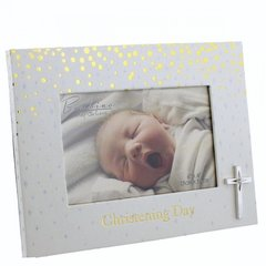 Christening day frame with cross