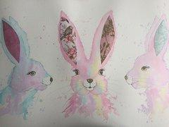 Watercolour trio of bunnies picture