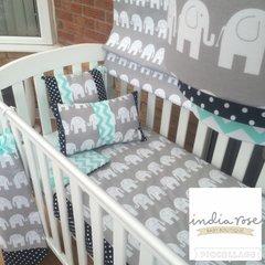 Elephant, navy blue spot & mint green chevron cot bed set