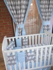 Grey Elephant and Blue chevron cot bed set
