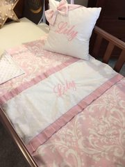 Luxury pink & white embroidered damask blanket and cushion set