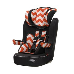Obaby Group 1-2-3 High Back Booster Car Seat - Orange ZigZag