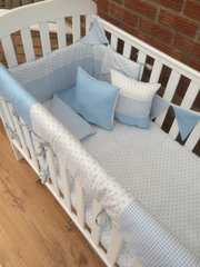 Blue small stars, gingham and polka dot cot bed set.