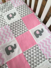 Pink & Grey Chevron Patchwork Coverlet with Handcrafted Elephants