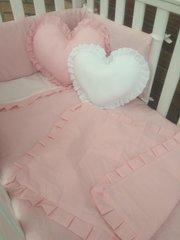 Pink and white plain cot bedding with heart cushions