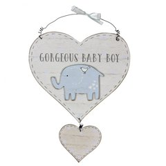 Gorgeous baby boy little elephant heart hanger