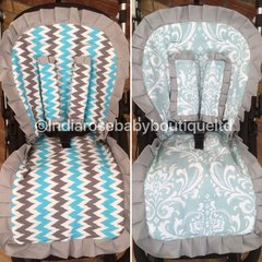 Reversible frilly pram liner in blue damask and chevron