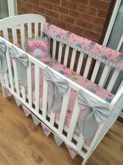Baby Girls Pink & Grey Owl Bedding with lovely frills and bows