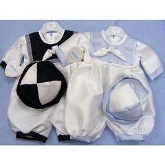Square knot collar dupion sailor suit & hat