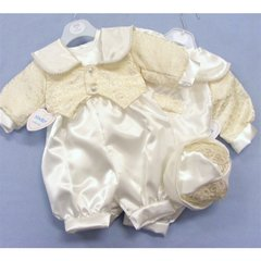 Ivory/Gold scroll christening suit