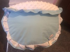 Blue broderie anglaise frill car seat apron