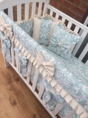 Blue Damask, frilled bedding set with bows