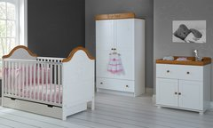 B is for Bear double 3 piece nursery furniture set - white or pine