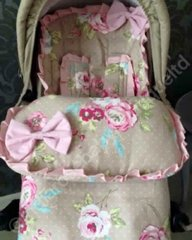 Clarke & Clarke Floral Footmuff with Frills and Bows