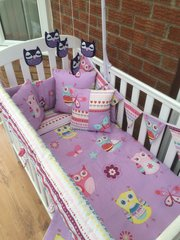 Purple & Grey Owl Cot Bedding Set with Frills & Bows.