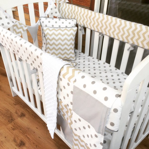 Bumperless Custom Made Chevron and Polka Baby Bedding