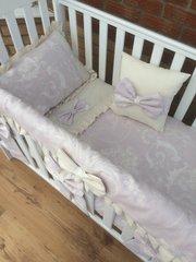 Luxurious Lilac & Grey Damask Cot Bedding Set