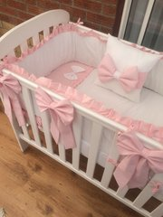 White with pink trim/frill cot set