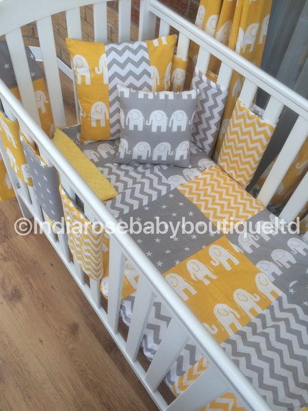 Funky elephant, chevron & stars cot bedding set