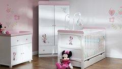 Disney Love Minnie 3 piece nursery furniture set - White with Pink Trim