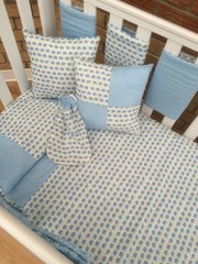Cute Baby Elephant and Pastel Blue Polka Dot Cot Beddng Set