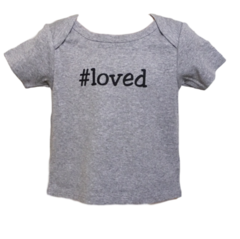 Infant Short-Sleeve, Lap Shoulder Hashtag Tee - Loved