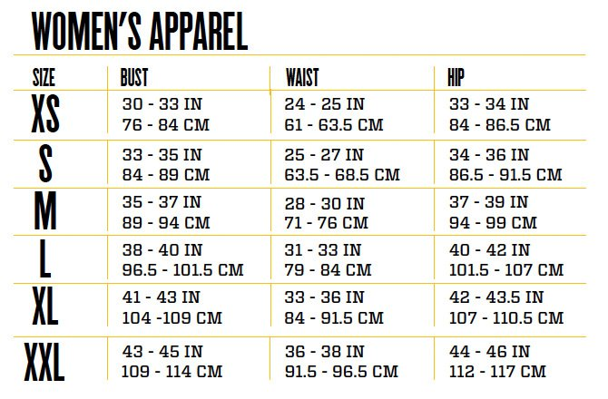 Size Chart For Women Clothing
