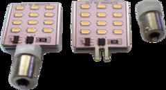 SQUARE 12 LED W/CHANGEABLE SINGLE POST BA15/T10 BASE (WARM WHITE)