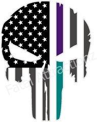 Rugged American Flag Skull Purple Teal Line sudicide awareness