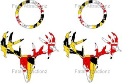 Maryland Flag Zombie Deer Skull Cornhole Pack