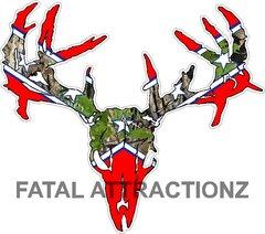 Confederate Camo Flag Zombie Deer Skull