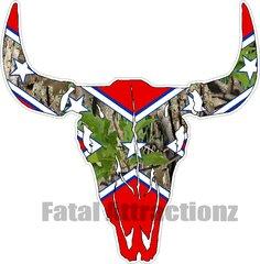 Confederate Camo Bull Skull
