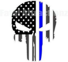 Rugged American Flag Skull Blue Line Police