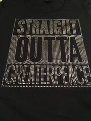 STRAIGHT OUTTA GREATERPEACE RHINESTONE BLING TEE