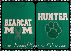 BEDFORD BEARCAT MOM WITH PAW RHINESTONE BLING TEE